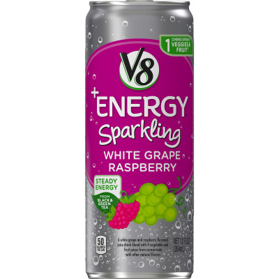 Sparkling Healthy Energy Drink, Natural Energy from Tea, White Grape Raspberry
