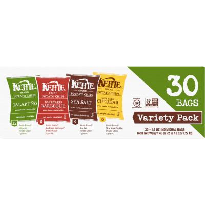 Variety Pack Kettle Potato Chips (Sea Salt, NY Cheddar, Backyard Barbeque, Jalapeno)