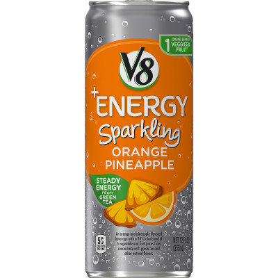 Sparkling Healthy Energy Drink, Natural Energy from Tea, Orange Pineapple